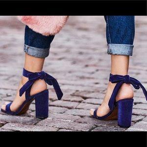 Velvet navy blue wrap heels